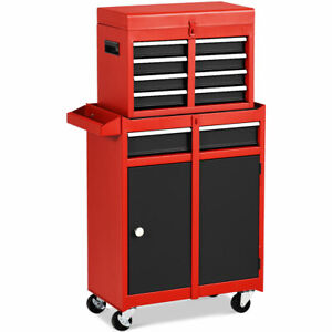 2-in-1-Tool-Chest-amp-Cabinet-with-5-Sliding-Drawers-Rolling-Garage-Box-Organizer