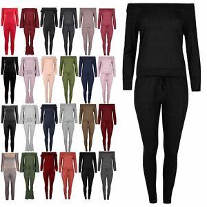 Ladies Marl Top Jog Suit Womens Tracksuit Oversized Off The Shoulder