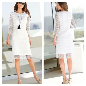 1eb8d730a9a Alessa W   Kaleidoscope Size 10 White Lace DRESS Summer Occasion ...