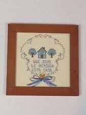 """Religious Needlepoint Cross Stitch In Spanish """"Que Dios Le Bendiga Esta Casa"""""""