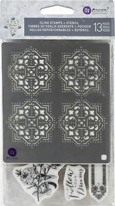 Prima Marketing 636074 Midnight Garden Cling Rubber Stamps /& Stencil