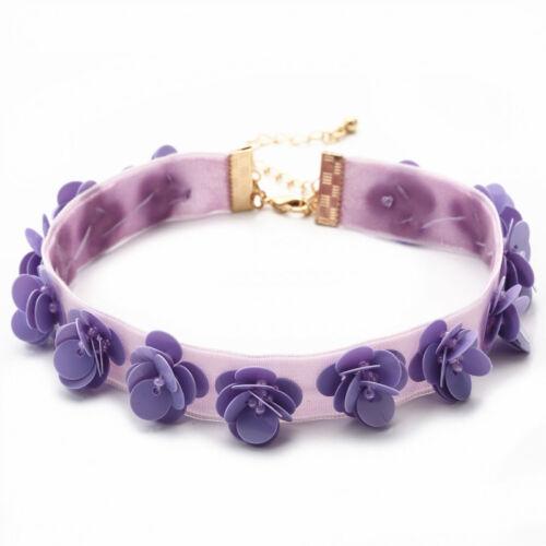 Fashion Purple Flower  Velvet Choker Lace Collar Necklace for Women Jewelry