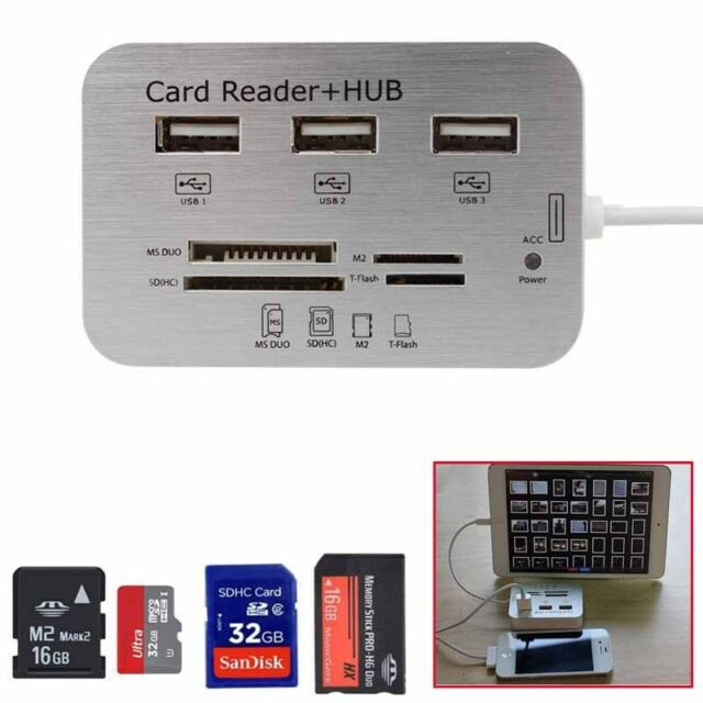 Usb Hub 3 Port Micro Sd Tf Sdhc Ms Card Reader Combo Adapter For