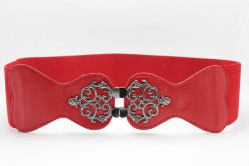 Women Red Color Fabric Waistband Hip Waist Belt Fun Filigree Buckle Plus M L XL
