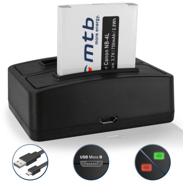 Bateria + Cargador doble NB-4L para Canon IXUS 100 IS, 110 IS, 120 IS, 130