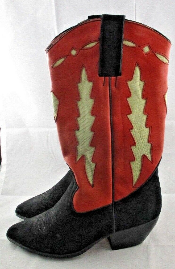 MAINE WOODS WOODS WOODS Red Leather & Black Suede COWBOY BOOTS Size 8 Med WORN ONCE 00d830