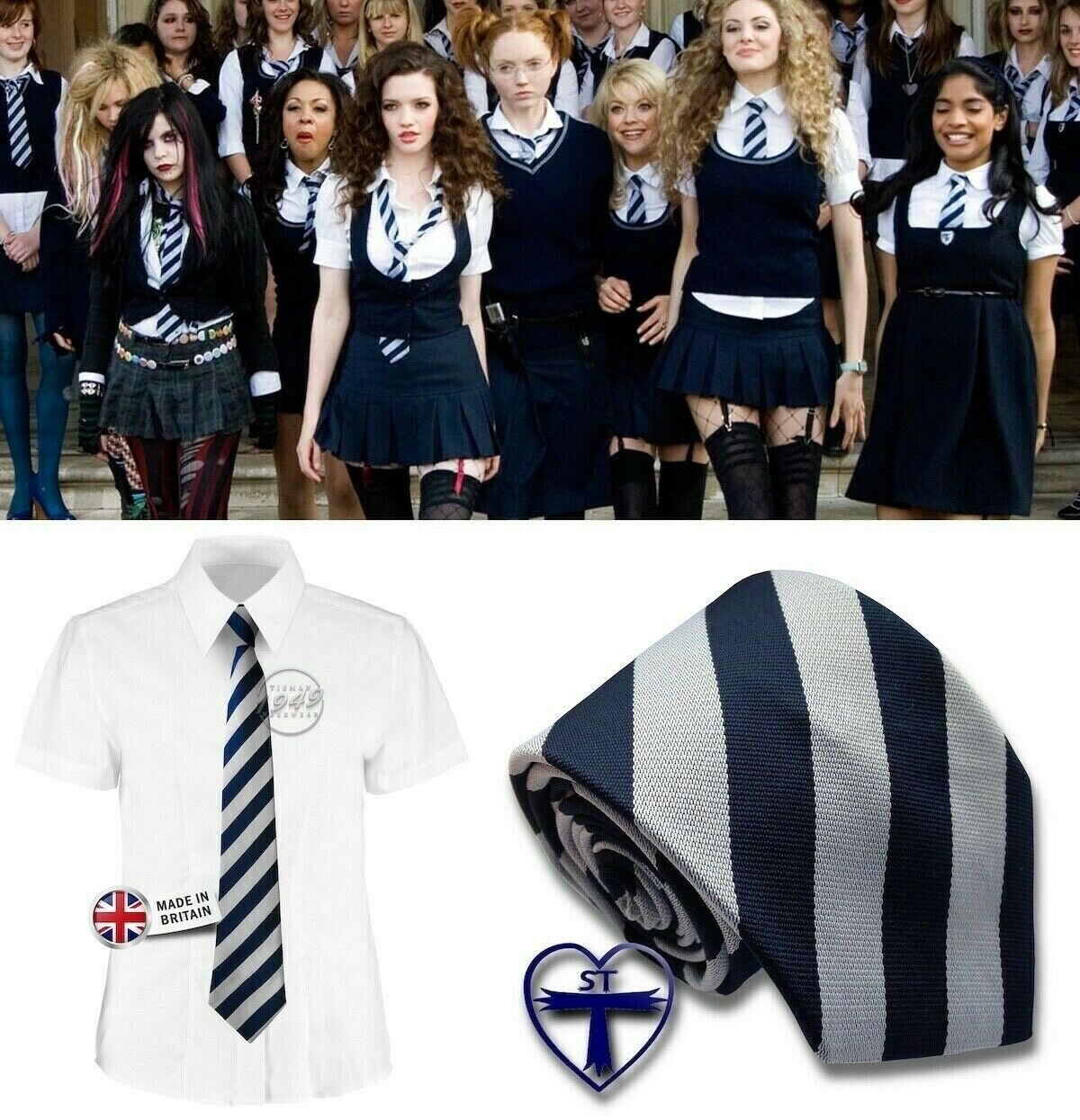 Escuela Tie-St Trinian's Ties Azul Marino/Gris elaborado vestido de uniforme-British hecho