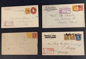 U.S., Lot of 4 Washington-Franklin Registered Covers Used Between 1912 and 1917