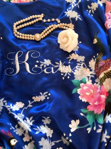 Embroidered personalised 90CMS satin robe Any name Gift Birthday Christmas gift
