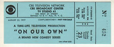 """On Our Own"" 1977 Ticket CBS Television Show Dixie Carter, Gretchen Wyler"