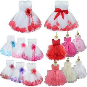 b9e2a0c76 Flower Girl Kids Toddler Baby Princess Party Wedding Lace Tulle ...
