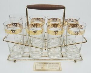 FEDERAL-GLASS-CO-GOLD-LEAF-DINING-GLASSWARE-CUPS