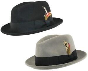 Homme ou garçon C-Couronne Trilby Chapeau 100% laine déformable Feutre Fedora/HOMBURG Style
