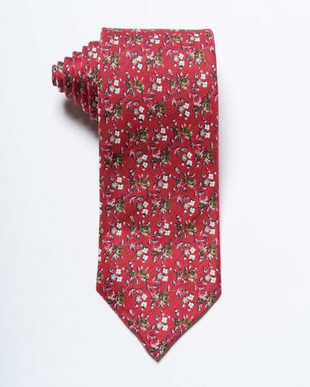 Isaia Nwt Rot-Braun Pink Blumenmuster Leinen & Seidenmischung Krawatte 3.1