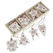 Heaven Sends Box of 12 White Wooden Merry Christmas Tree Decorations Ornaments