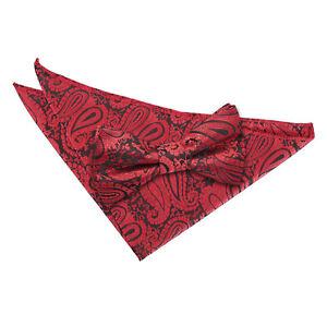 Noir-Rouge-pour-homme-Pre-Tied-Bow-tie-hanky-Mariage-Set-Tisse-Floral-Paisley-par-DQT