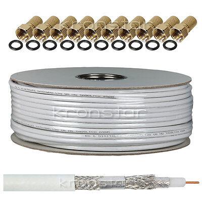 25m 130dB PREMIUM Koaxialkabel DIGITAL Antennenkabel SAT Kabel Stahl-Kupfer TV