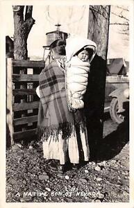 RPPC-A-Native-Son-of-Nevada-Native-Americana-Woman-amp-Child-Papoose-Postcard-1943