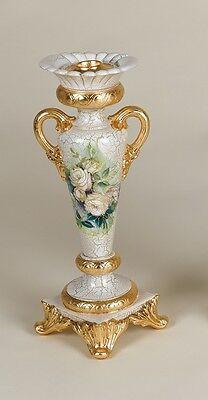 Candeliere A 1 Fiamma Candelabro Via Veneto Panna E Oro Ceramica Craquet Fiori