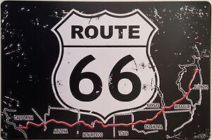 Retro-Letrero-Metalico-De-Pared-Lata-Placa-Vintage-Shabby-Chic-Garaje-RUTA-66