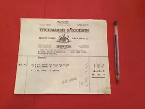 Titchmarsh & Goodwin Ipswich  1936 Table receipt R36595