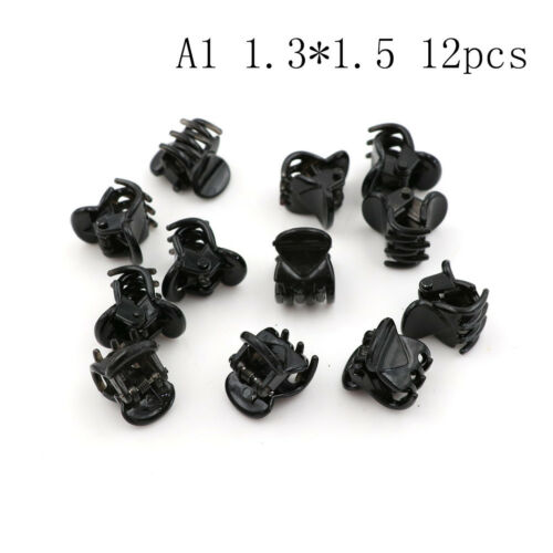 12pcs Small Plastic Black Hair Clips Claws Clamps JC