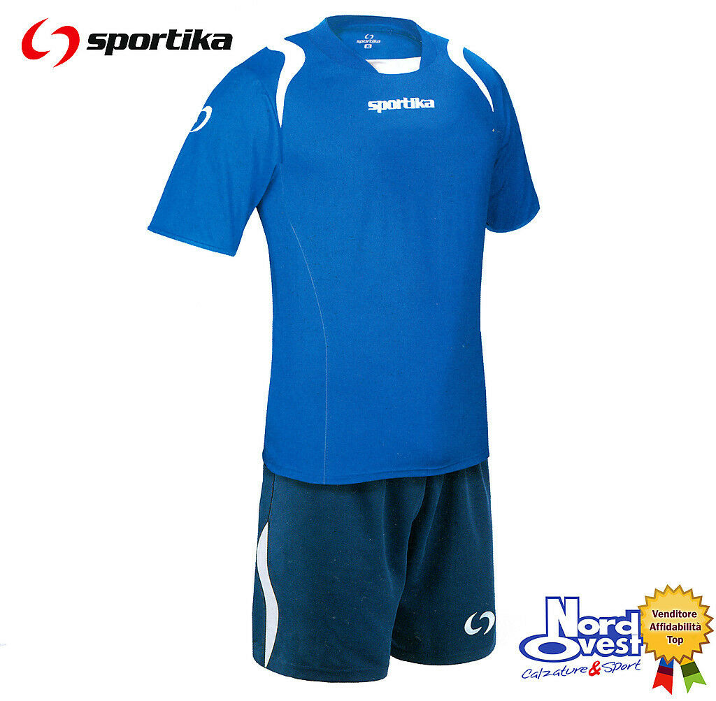 10  COMPLETI CALCIO CALCETTO Man. corta  set Lione Sportika col 120 azzurro  blu