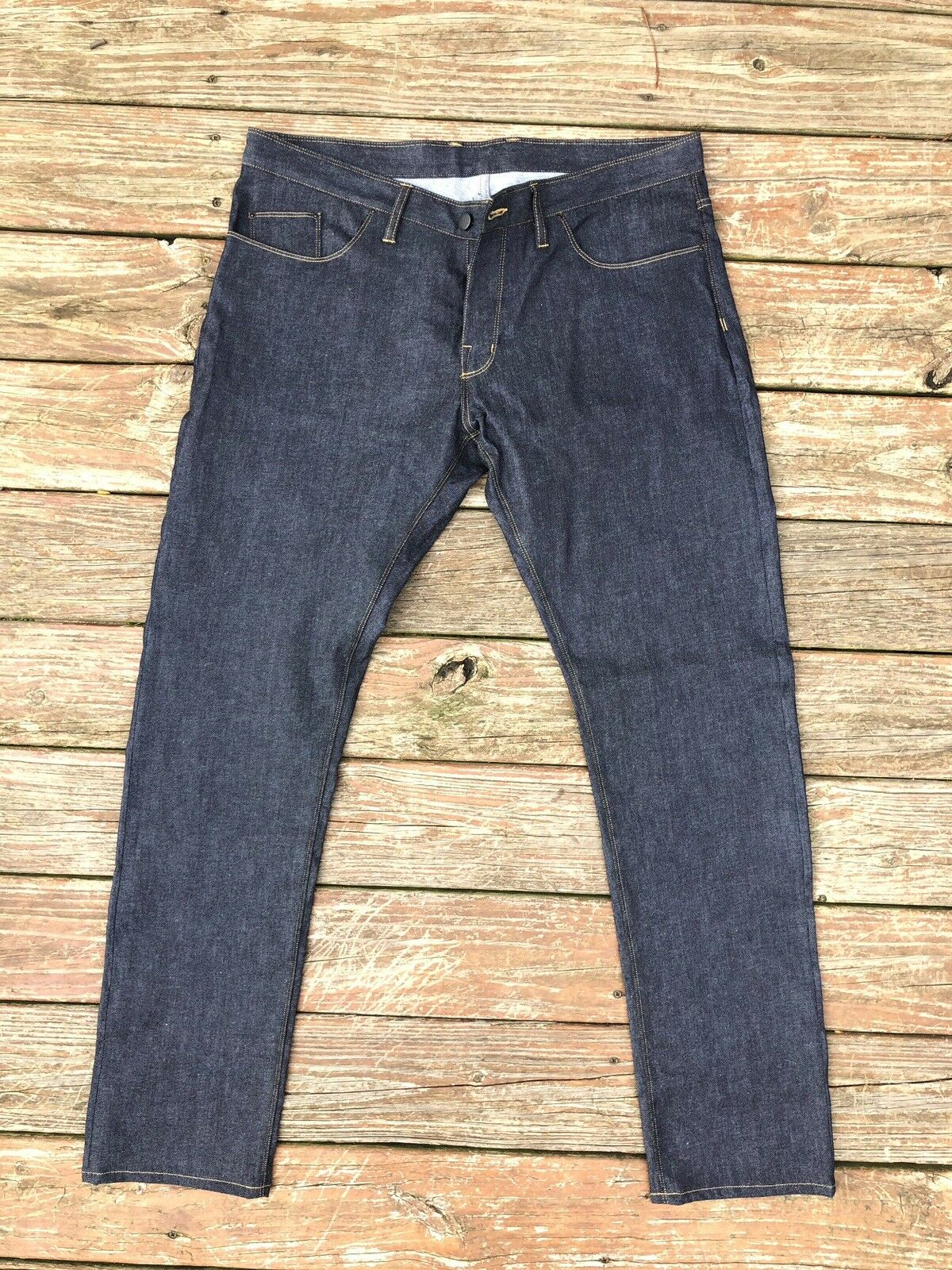 Mens PFELD Handmade in USA Denim Jeans Size 40x36 Button Fly Slevedge Mint EUC