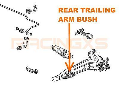 Pair rear trailing arm RTA bushes bush x 2 Honda Civic 92-00 CRX del Sol 93-97