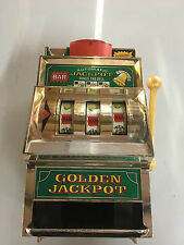 "Vtg Casino Golden Jackpot Slot Machine Bank By Waco 11"" X 7"" Japan Toy RARE"