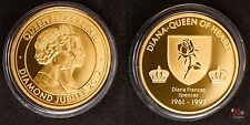 Diamond Jubilee 2012 Lady Diana Medaille - Top-Zustand - vergoldet ca 15g 34mm