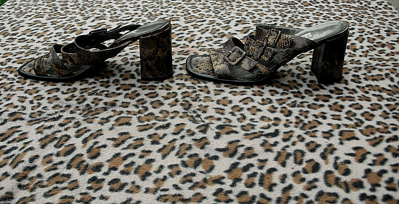 Vintage Angela Gerucci Snakeskin pattern Sandale made in  UK 5.5 EU 38.5