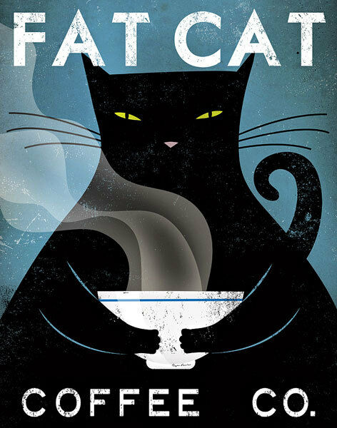 Cat Coffee no City Ryan Fowler Advertisements Vintage Ads Fat Cats Print Poster