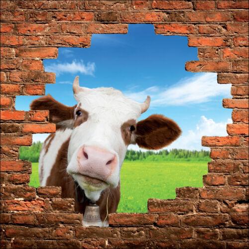 Sticker mural trompe l/'oeil mur de pierre déco Vache  réf 897
