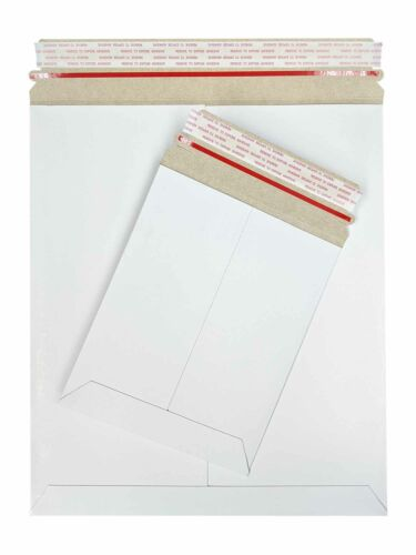 "White Stay Flat Kraft Cardboard Mailer with Tear Tab 28 PT 6/"" x 6/"" 200 Pcs//Cs"