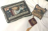 Lot 3 Christmas Nativity Angel Peace Throw Pillows Door Hangers Secret Pocket