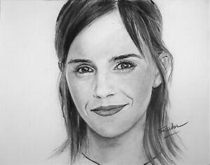 Emma Watson Portrait Painting on Poster - Hermione Granger Celebrity Art Print