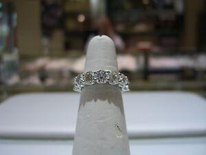 FINE LARGE DIAMOND WEDDING BAND 4.00 CARAT PLATINUM SIZE 7.0 NEW ...