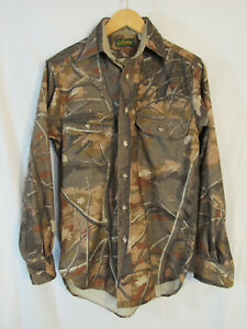 VTG-USA-Cabela-039-s-Men-039-s-Skyline-Camo-Long-Sleeve-Button-Up-Hunting-Shirt-Size-S