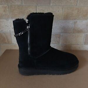 c74650497d2 Details about UGG Classic Short Sparkle Zip Chain Black Suede Fur Winter  Boots Size 8 Womens