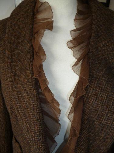 le chic laine de volants en à hippie veste devant Dkny tweed mélange et sur boho marron soie décontracté cravate en Fpq6xU