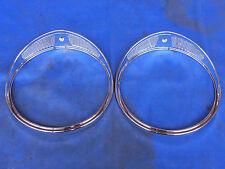"JAGUAR DAIMLER 7"" CHROME HEADLAMP TRIM FITS XJ6 XJ12 SER1 2 3 & DS420 HCT1 PAIR"