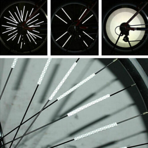 Lot 12pcs Bicycle Spoke Warning Reflective Tube Clip Bike Reflector Wheel Safety