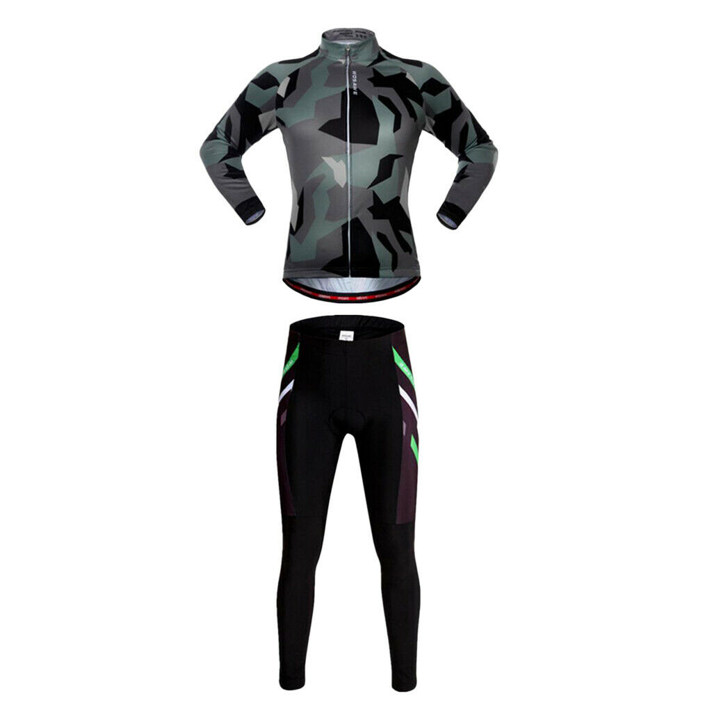 Bike Outfits Clothes manche longue Jersey & Gel Padded Cycling Long Tights Set