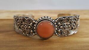 Vintage-Bali-Cuff-Bracelet-Indonesia-925-Sterling-Silver-W-Ornate-Overlay