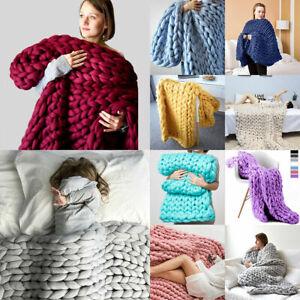 Handmade-Chunky-Knit-Blanket-Soft-Warm-Thick-Yarn-Wool-Bulky-Knitted-Throw