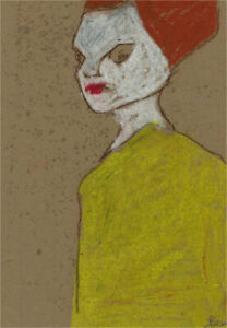 Ben Carrivick - Contemporary Pastel, Figure with Red Hair and Yellow Dress