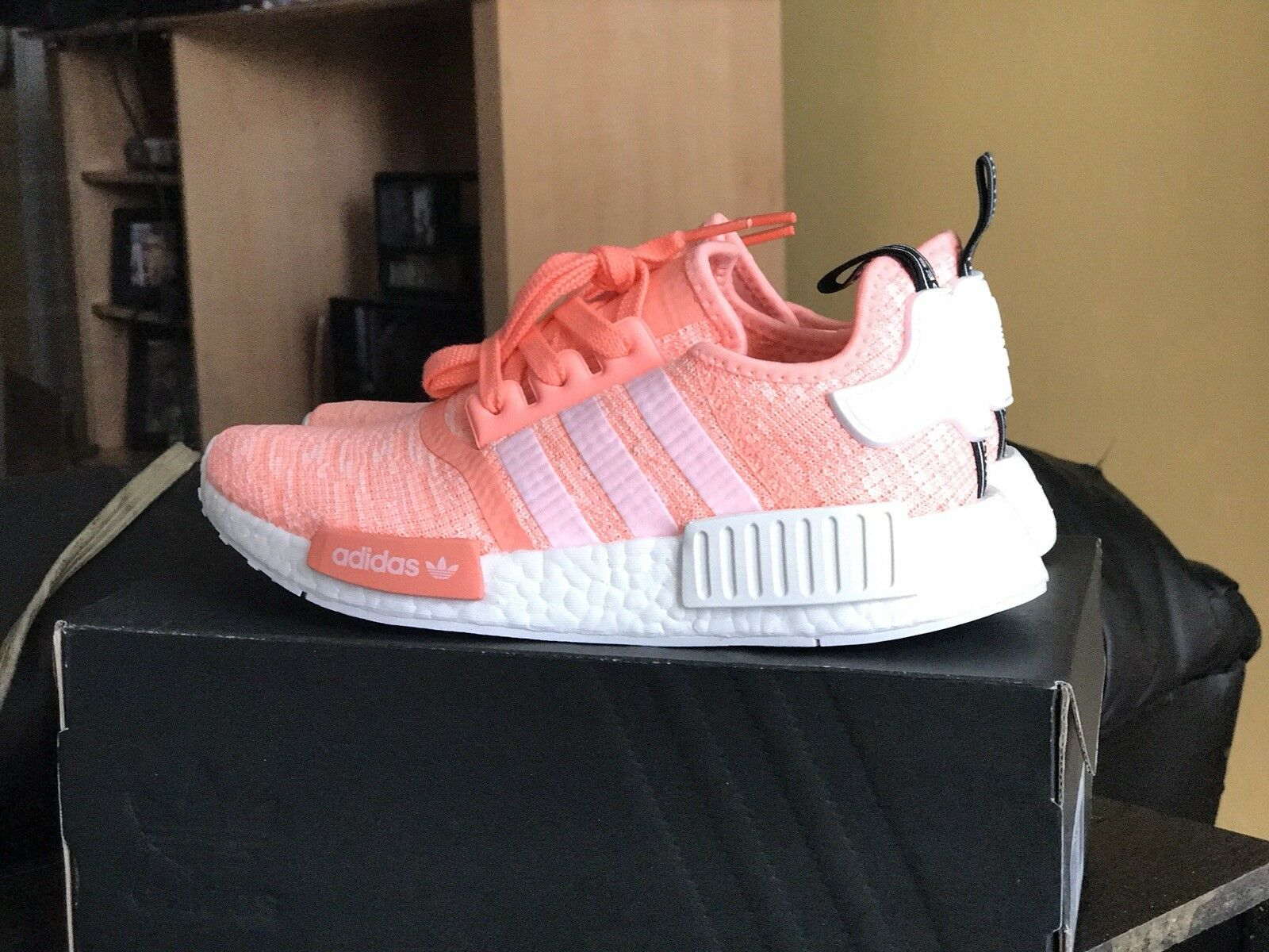 NEW Adidas NMD R1 W Sun Glow Pink Peach Coral Glitch BY303. US 5.5