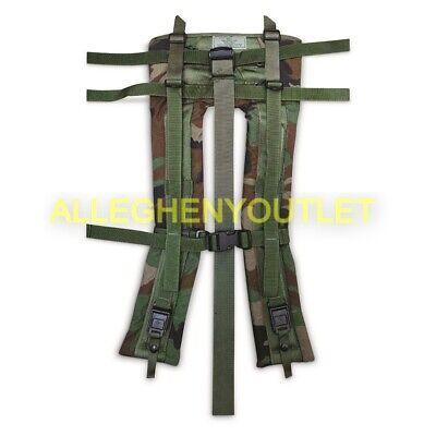 US Military MOLLE Shoulder Straps Woodland Camo w// Foliage QR Straps VGC