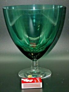 1960-039-S-VINTAGE-ORREFORS-SWEDEN-TEAL-GLASS-ON-CLEAR-STANDING-BASE-SVEN-PALMQVIST